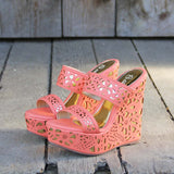 Traveling Sands Wedges in Peach: Alternate View #1