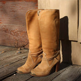 Vintage Suede Stacked Boots: Alternate View #1