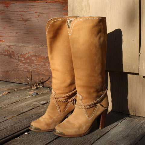 Vintage Suede Stacked Boots