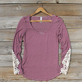 Sleepy Creek Lace Tee in Burgundy: Alternate View #1
