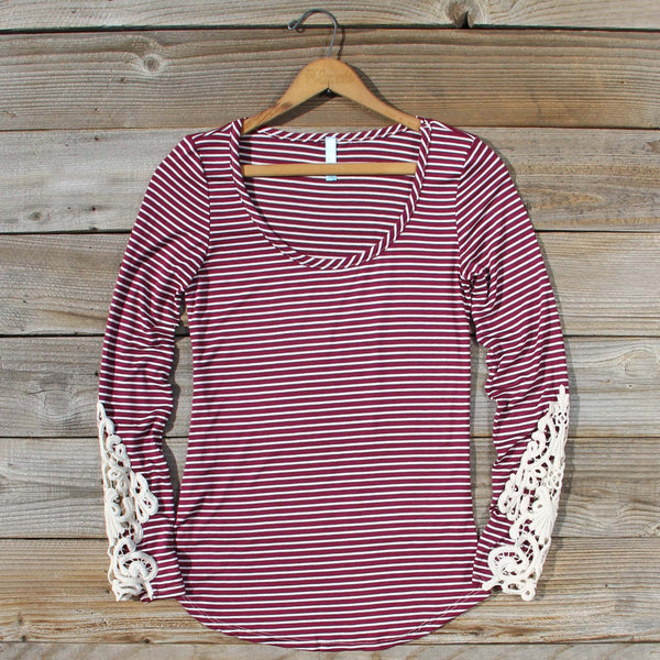 Sleepy Creek Lace Tee in Burgundy: Featured Product Image