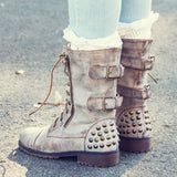 The Aberdeen Studded Combat Boots in Sand: Alternate View #2
