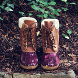 Alpine Pine Duck Boot in Wine: Alternate View #3