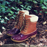 Alpine Pine Duck Boot in Wine: Alternate View #1