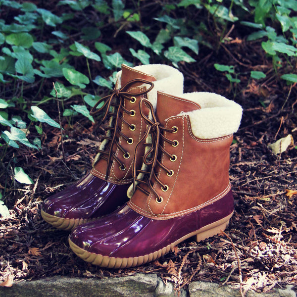 Alpine Pine Duck Boot in Wine: Featured Product Image