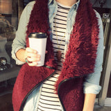 Arctic Sherpa Vest in Burgundy: Alternate View #3