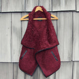 Arctic Sherpa Vest in Burgundy: Alternate View #1