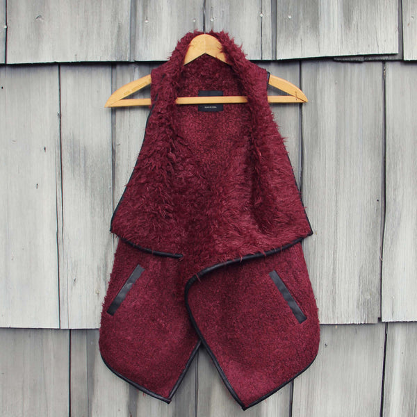 Arctic Sherpa Vest in Burgundy: Featured Product Image