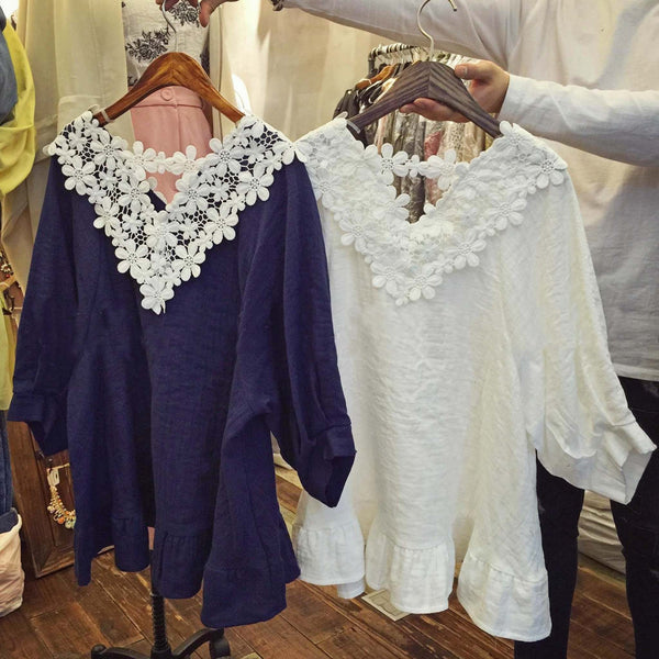Astilbe Lace Top in Navy: Featured Product Image