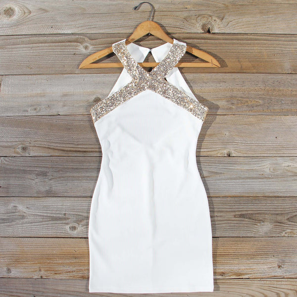 Aura Quartz Party Dress in White: Featured Product Image