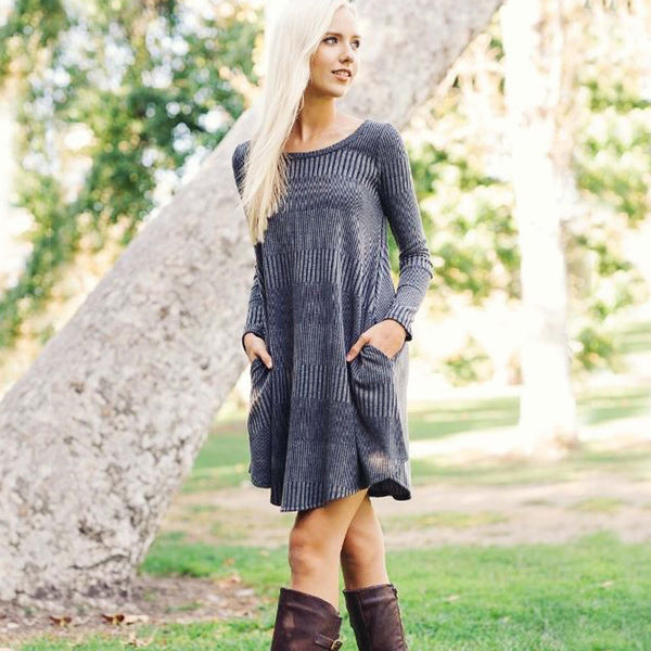 Autumn Dust Dress in Gray: Featured Product Image