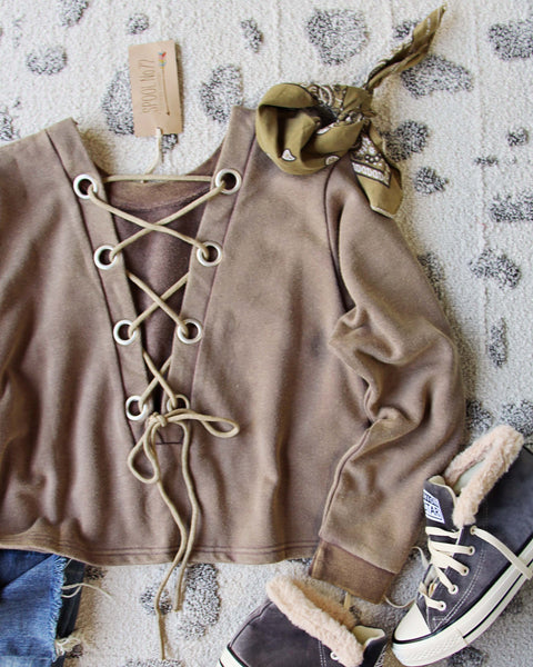 Bailey Tie Back Sweatshirt in Brown: Featured Product Image