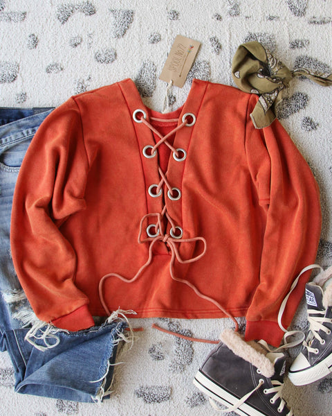 Bailey Tie Back Sweatshirt in Rust: Featured Product Image