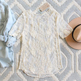 The Lace Basic Tee in Cream: Alternate View #4