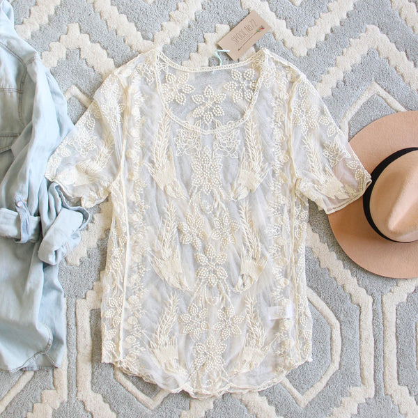 The Lace Basic Tee in Cream: Featured Product Image