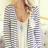 Basic Stripe Cardigan: Alternate View #2