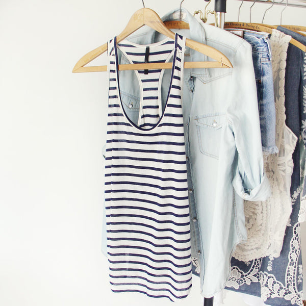 Basic Stripe Tank in Navy: Featured Product Image