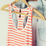 Basic Stripe Tank in Coral: Alternate View #3