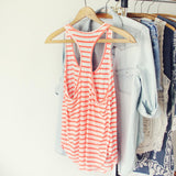 Basic Stripe Tank in Coral: Alternate View #2