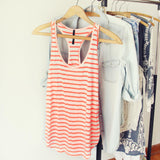 Basic Stripe Tank in Coral: Alternate View #1