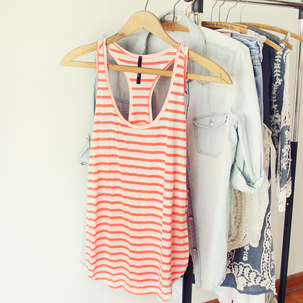 Basic Stripe Tank in Coral: Featured Product Image