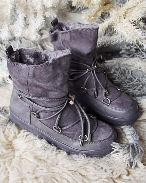 Bear Cabin Cozy Boots in Gray: Featured Product Image