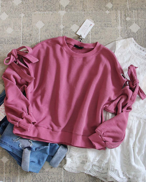 Belle Tie Sweatshirt in Pink: Featured Product Image