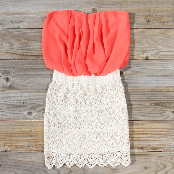 Bewilder Lace Dress in Coral: Featured Product Image