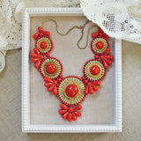 Bohemian Romance Necklace in Coral: Alternate View #1
