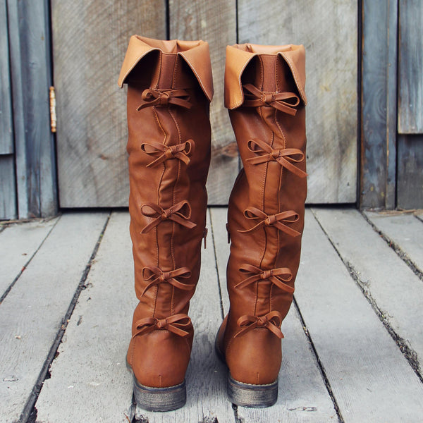 The Bow Back Boots in Cognac: Featured Product Image