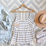 The Boyfriend Stripe Tank in Navy: Alternate View #4