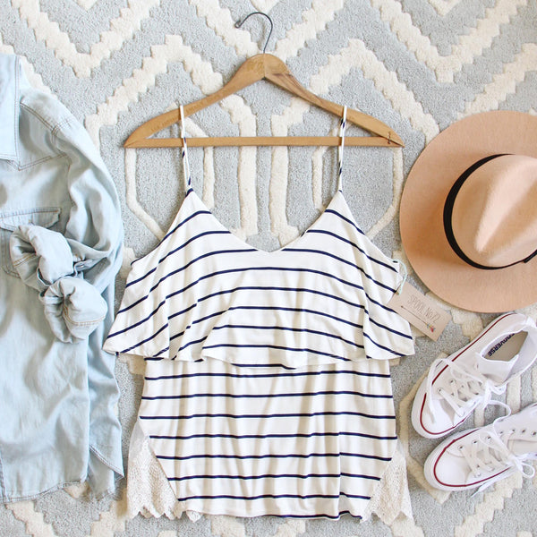 The Boyfriend Stripe Tank in Navy: Featured Product Image