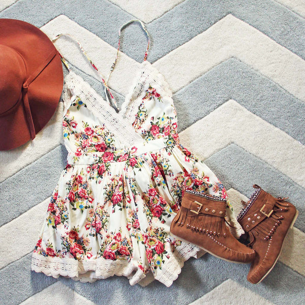 Buffalo Rose Romper in Cream: Featured Product Image