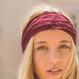 Gypsy Lace Headwrap in Burgundy: Alternate View #2