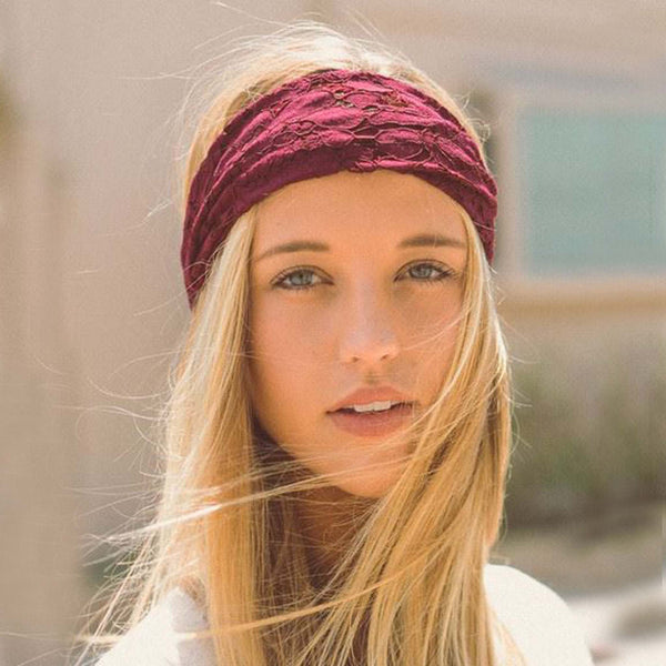 Gypsy Lace Headwrap in Burgundy: Featured Product Image