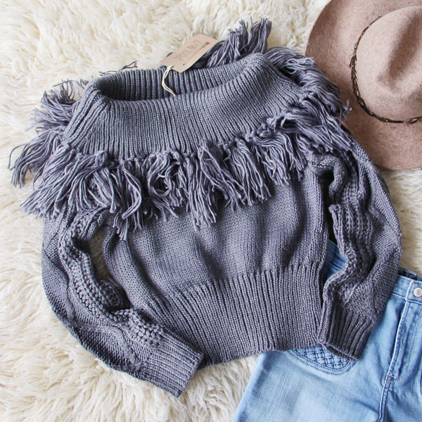 Cable & Feather Sweater in Gray: Featured Product Image