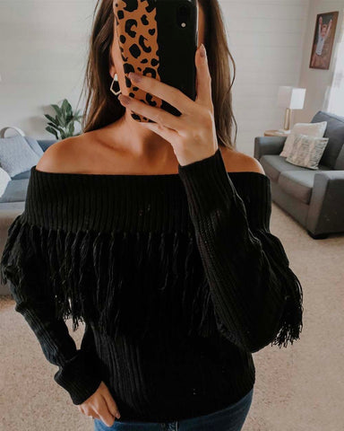 Cable & Feather Sweater in Black