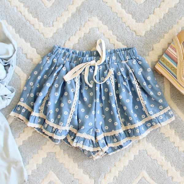 Chambray & Daisies Shorts: Featured Product Image
