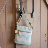 The Chevron Cross Body Tote in Mint: Alternate View #1