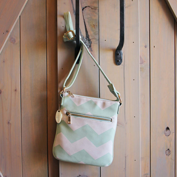 The Chevron Cross Body Tote in Mint: Featured Product Image