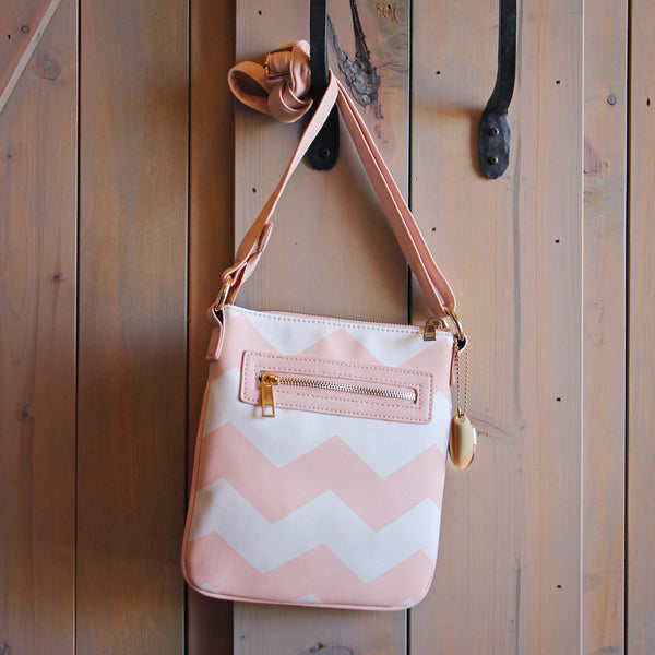 The Chevron Cross Body Tote in Pink: Featured Product Image