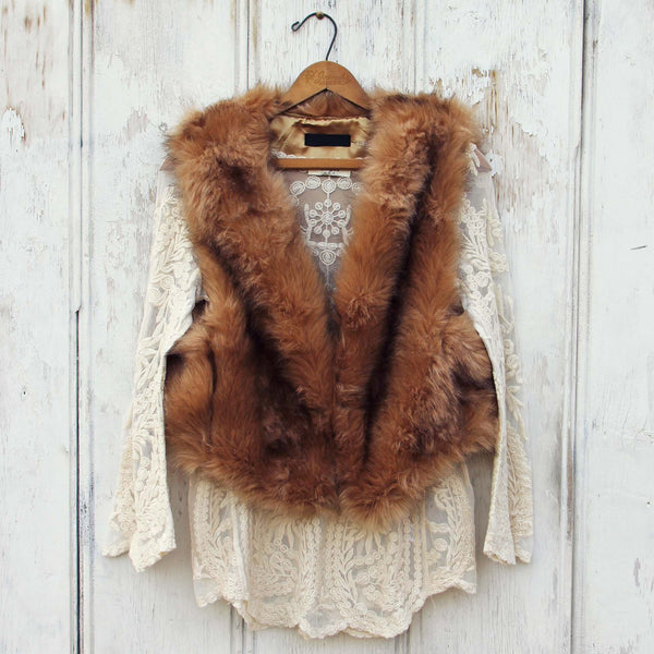 Chumstick Faux Fur Vest in Honey: Featured Product Image