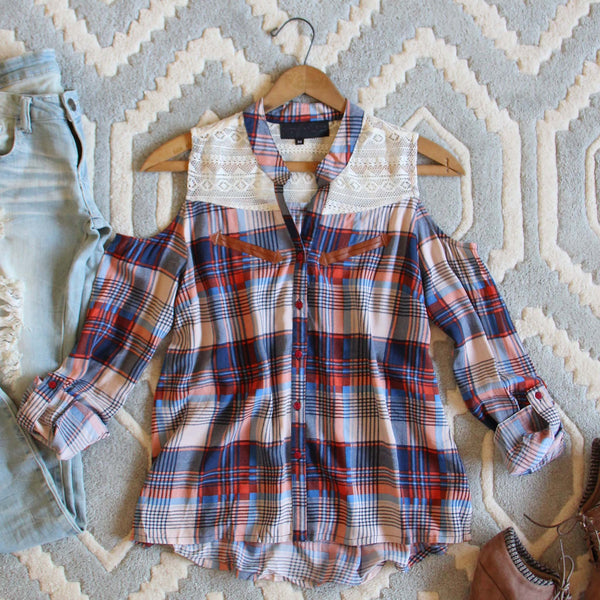 Cold Shoulder Plaid Top: Featured Product Image