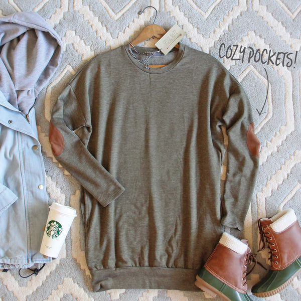Cozy Sweatshirt Dress in Olive: Featured Product Image