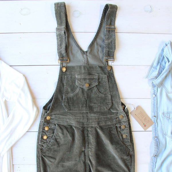 Cozy Corduroy Overalls in Sage: Featured Product Image