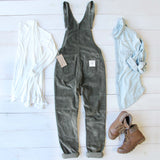 Cozy Corduroy Overalls in Sage: Alternate View #4