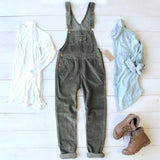 Cozy Corduroy Overalls in Sage: Alternate View #2