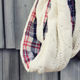 Knit & Plaid Scarf in Cream: Alternate View #2