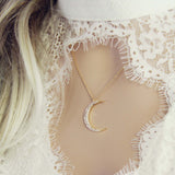 Crescent & Stone Necklace: Alternate View #1
