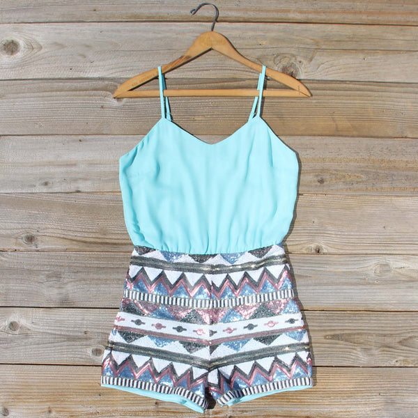 Crystal Wishes Romper in Turquoise: Featured Product Image